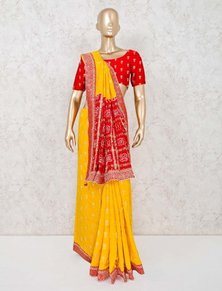 Yellow and red colored cotton silk saree