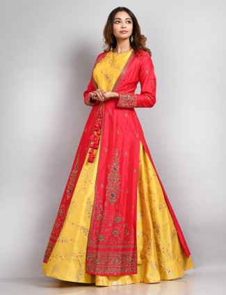Yellow and red cotton silk anarkali suit