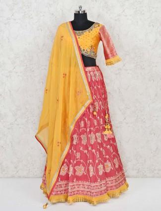 Yellow and red cotton wedding lehenga choli