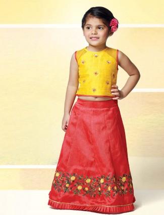 Yellow and red raw silk festive lehenga choli