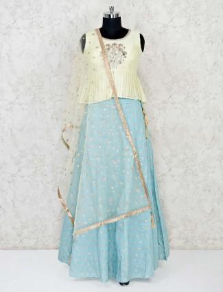 Yellow and sky blue cotton silk lehenga choli