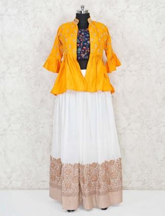 Yellow and white cotton party function lehenga choli