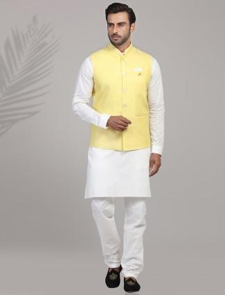 Yellow and white linen waistcoat set