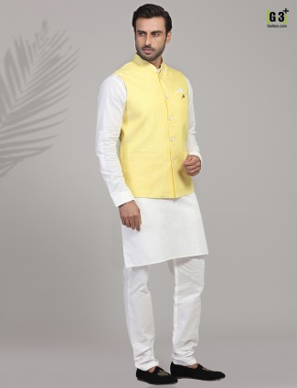 Yellow and white linen waistcoat set