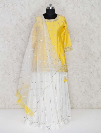 Yellow and white punjabi lehenga suit in cotton silk