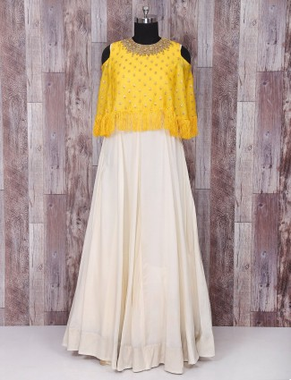 Yellow and white silk anarkali suit
