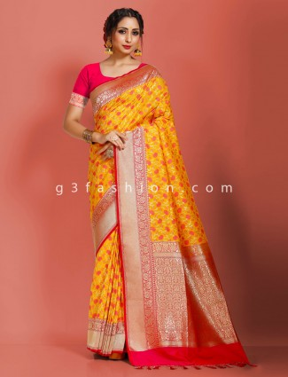 Yellow art banarasi silk heavy golden zari weaving pallu saree