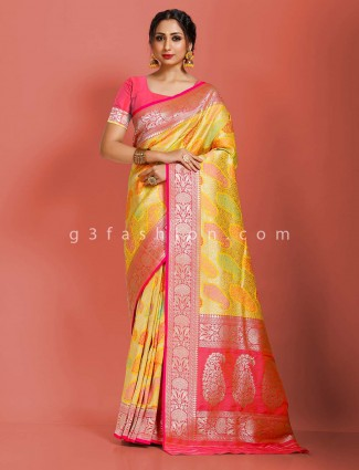 Yellow art banarasi silk saree with contrast bright pallu