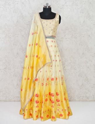 Yellow banarasi silk anarkali dress