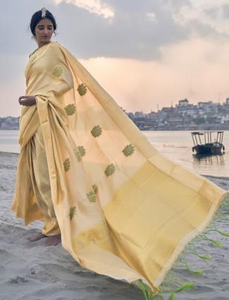 Yellow banarasi silk saree for weddings and festivals