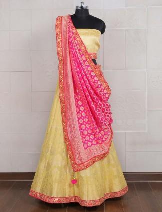 Yellow banarasi silk semi stitched lehenga choli