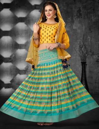 Yellow blue cotton designer lehenga choli