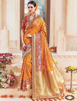 Yellow bright silk wedding saree