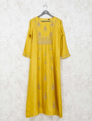 Yellow caasual wear kurti in cotton