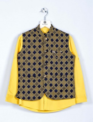 Yellow checks style cotton waistcoat in cotton