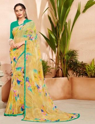 Yellow chiffon printed design saree