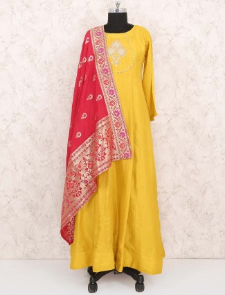 Yellow color anarkali suit in cotton