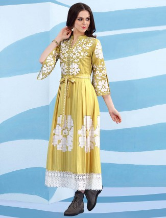 Yellow color cotton casual long kurti