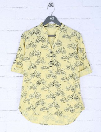 Yellow color cotton casual wear top