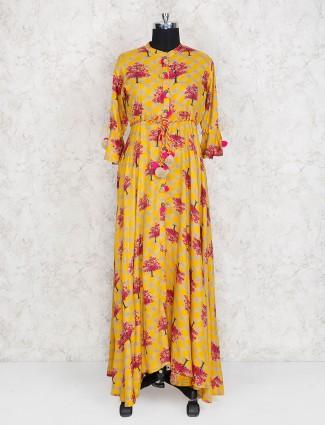 Yellow color cotton fabric festive wear kurti