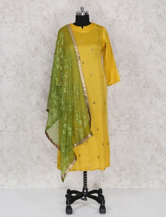 Yellow color cotton fabric punjabi salwar suit
