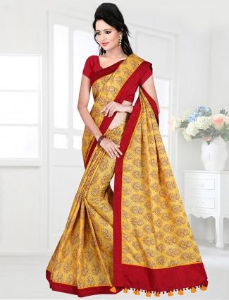 Yellow color cotton festive saree