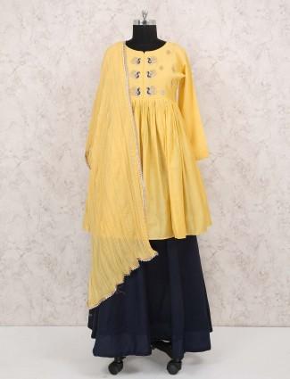 Yellow color cotton lehenga cum salwar suit