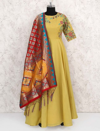 Yellow color cotton silk fabric anarkali suit