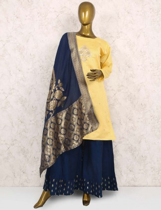 Yellow color cotton silk fabric punjabi sharara suit
