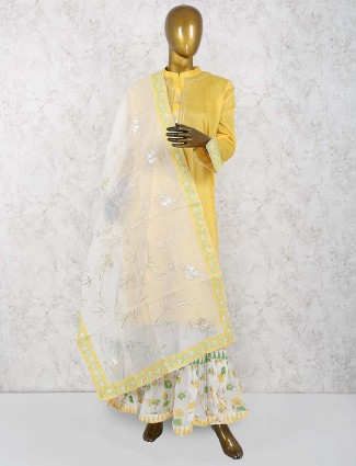Yellow color cotton silk festive sharara suit