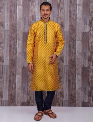 Yellow color cotton silk festive wear kurta suit
