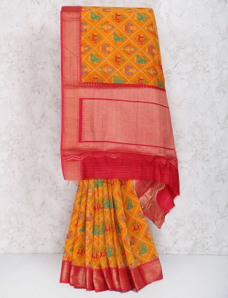 Yellow color cotton silk festive wear saree