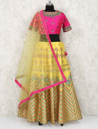 Yellow color cotton silk lehenga choli