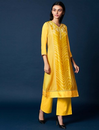Yellow color cotton silk pretty salwar suit