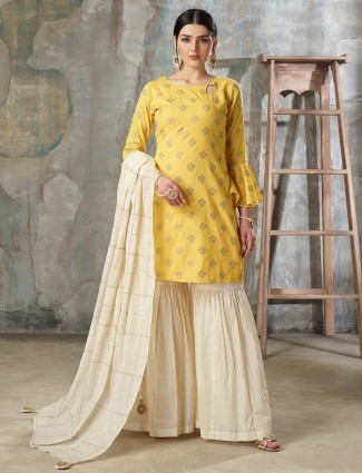 Yellow color cotton silk sharara suit