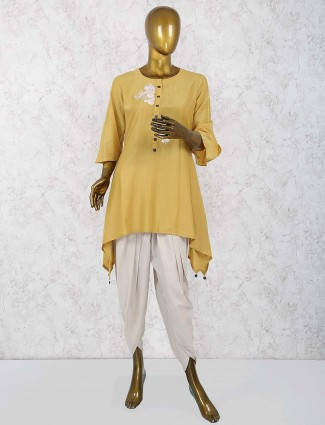 Yellow color dhoti suit in cotton