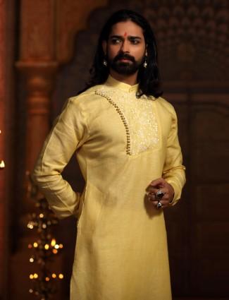 yellow color festive kurta suit