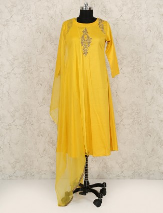 Yellow color festive salwar suit for woman