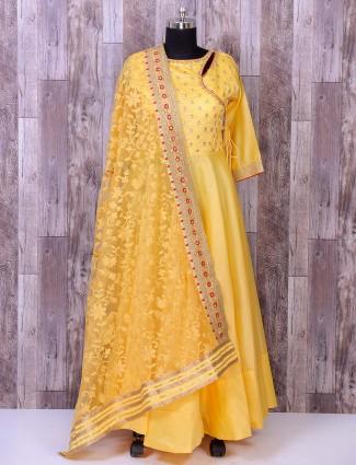 Yellow color festive wear anarkali suit