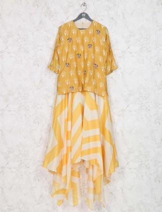 Yellow color festive wear printed kurti