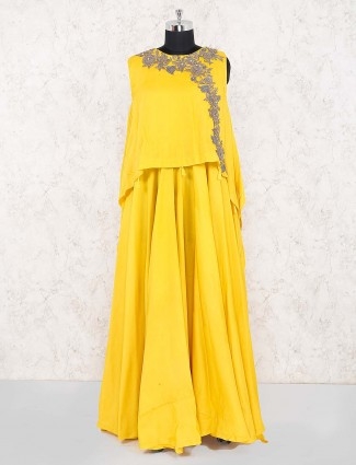 Yellow color floor length cotton silk indo western salwar suit