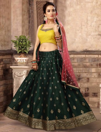 Yellow color gorgeous wedding lehenga choli