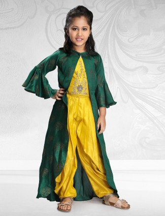 yellow color jecket style dhoti suit