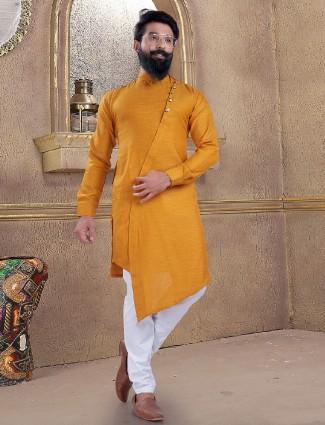 Yellow color kurta suit for mans