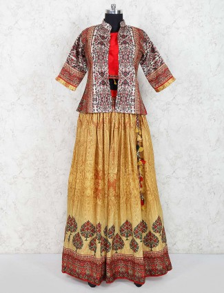 Yellow color lehenga choli in cotton