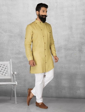 Yellow color linen kurta suit