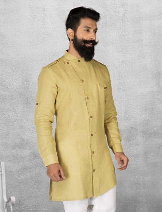 Yellow color linen short pathani