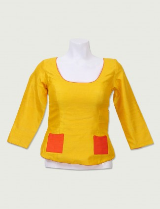 Yellow color long ready made blouse