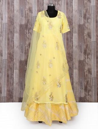Yellow color party wear salwar suit