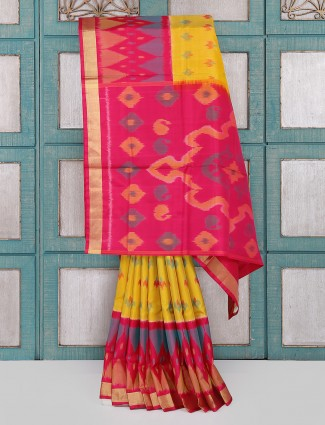 Yellow color patola silk saree for wedding wear